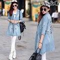 2016 Mulheres Jaqueta Jeans Primavera Outono Calça Jeans Desgastados Hlaf Luva Elegante Denim Único Breasted Casaco Fêmeas Magros Senhoras Do Vintage