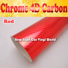 High Quality Red Chrome 4D Carbon Fiber Sticker For Vehicle Laptop Air Bubble Free Size: 1.52*30M/Roll