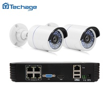 4CH 1080 P POE NVR Kit 2 unids 720 P/1080 P 2.0MP Cámara de Visión Nocturna IP Impermeable Al Aire Libre PoE P2P Seguridad CCTV Sistema de Vigilancia