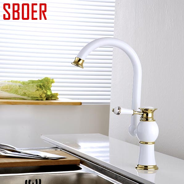New arrival Polished white painting Brass Swivel Kitchen Sinks Faucet 360 degree rotating Kitchen Mixer Tap with ceramic handle free shipping brushed nickel kitchen faucet brass swivel kitchen sinks faucet 360 degree rotating kitchen mixer tap gyd 7119