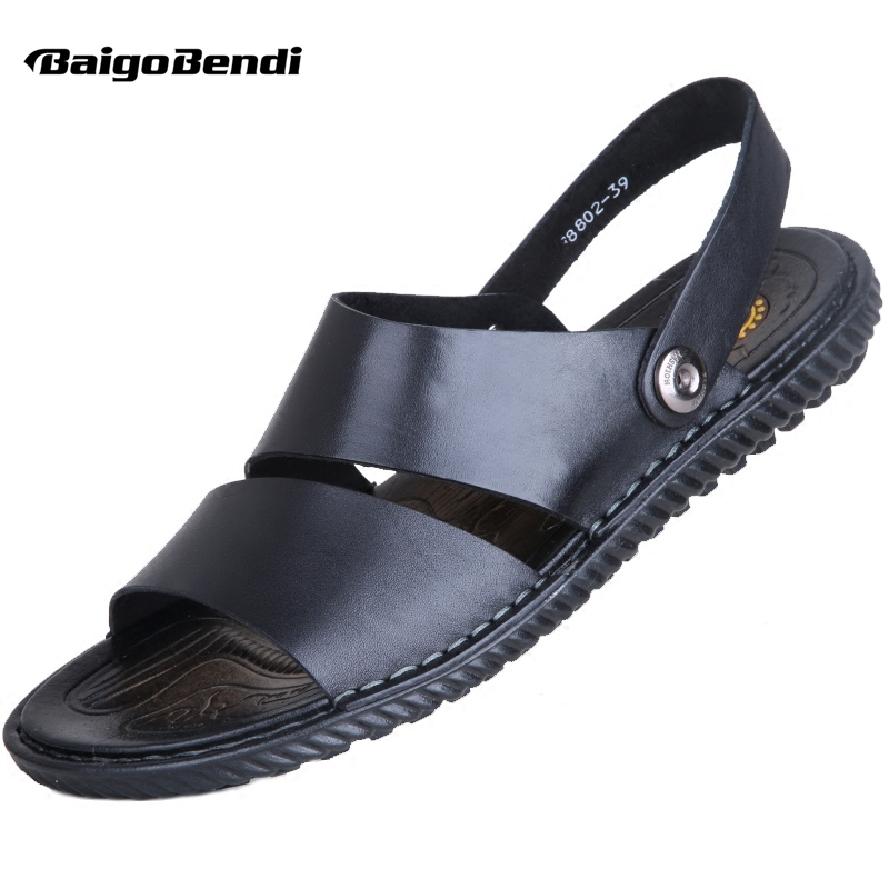 11570548445e Summer Casual New Mens Style Beach Man Sandals Slides Shoes Leather Real  Slippers Outdoor Rome FwFWqv0r ...