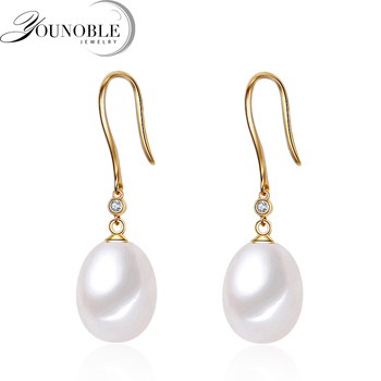 18K Gold earrings pearl Jewelry,drop earrings yellow gold earrings for women Wedding Jewelry White Beads earrings Anti allergic фото