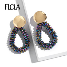 цена FLOLA Handmade Colorful Beads Earrings Women Trendy Dangle Teardrop Earrings Pendant 2019 kralen oorbellen ersq07