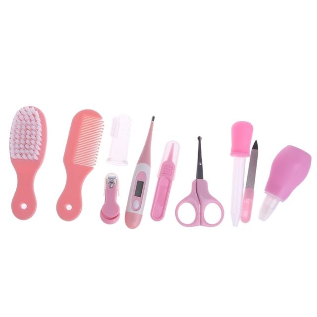 10pcs/Set Newborn Baby Kids Nail Hair Health Care Thermometer Grooming Brush Kit W15 5