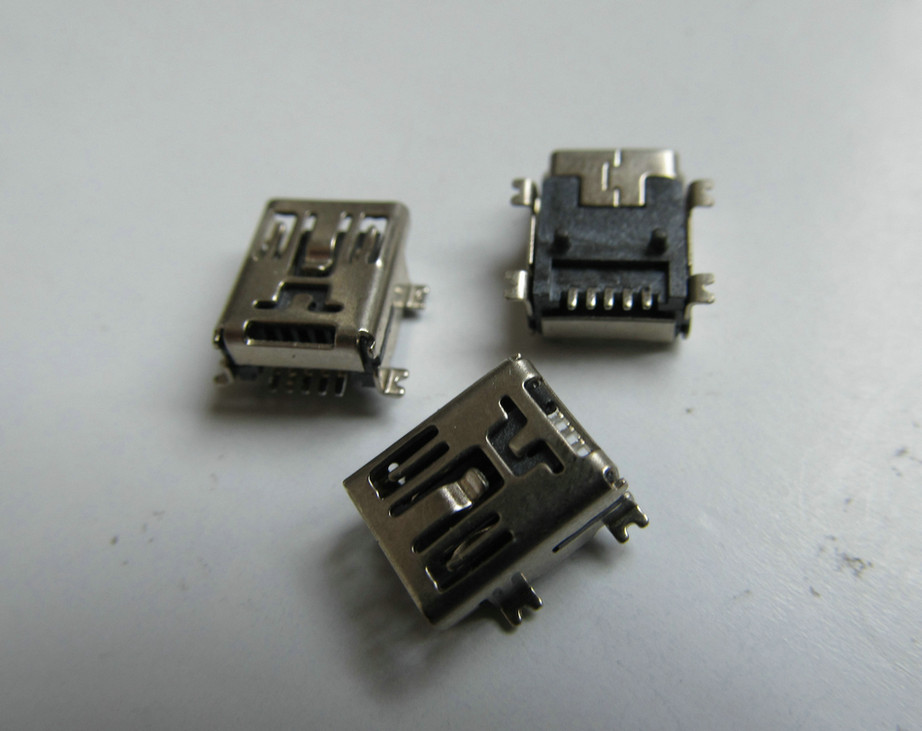 30 pcs / lot DIY straight MIni USB B 5 pins SMT female jack connector socket interface Welding plug For Phone mp3 mp4 ect.