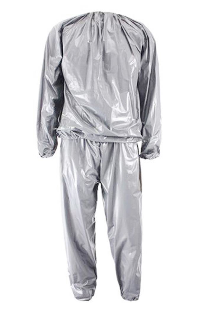 JHO-Heavy Duty Fitness Weight Loss Sweat Sauna Suit Exercise Gym Anti-Rip Silver L ...