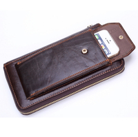 Men's long wallet wallet head leather wallet business phone bag Japanese and Korean version of the hand bag