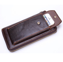 40e4ed0c3 Men's long wallet wallet head leather wallet business phone bag Japanese  and Korean version of the hand bag