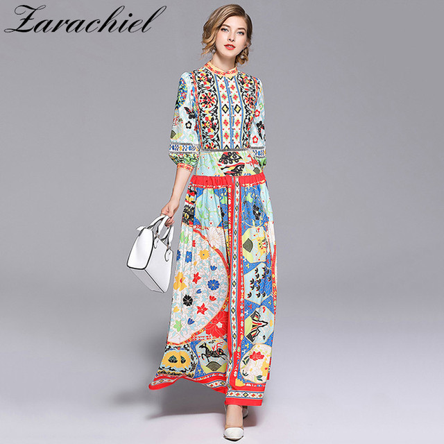 89266508a40dd 2018 Fashion Designer Runway Dresses Summer Women Puff Sleeve Flow...