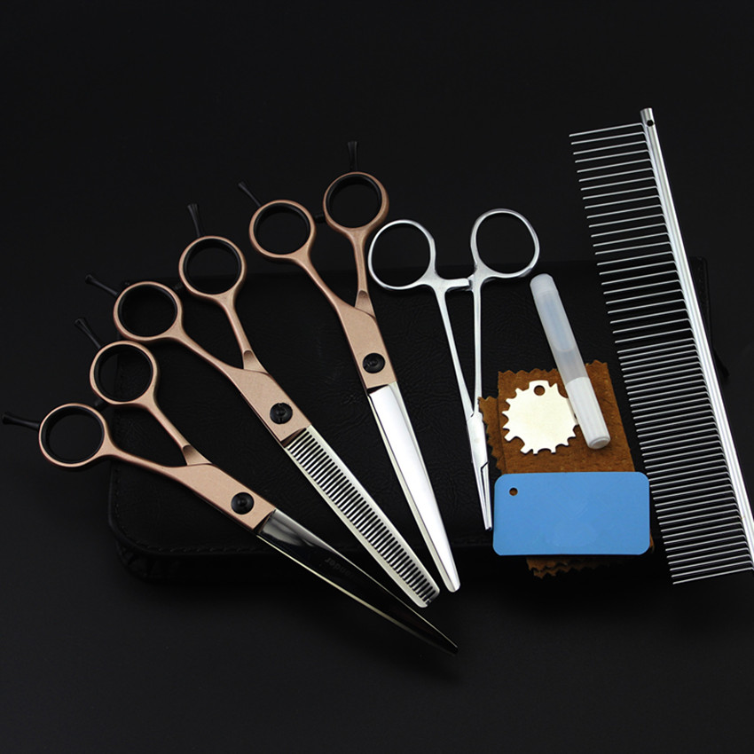 5 kit japan 440c steel pet 7 inch shears hair scissors dog grooming clipper cutting thinning barber tools hairdressing scissors 4 kit japan yellow pet 7 inch shears cutting hair scissors dog grooming clipper pets thinning barber comb hairdressing scissors