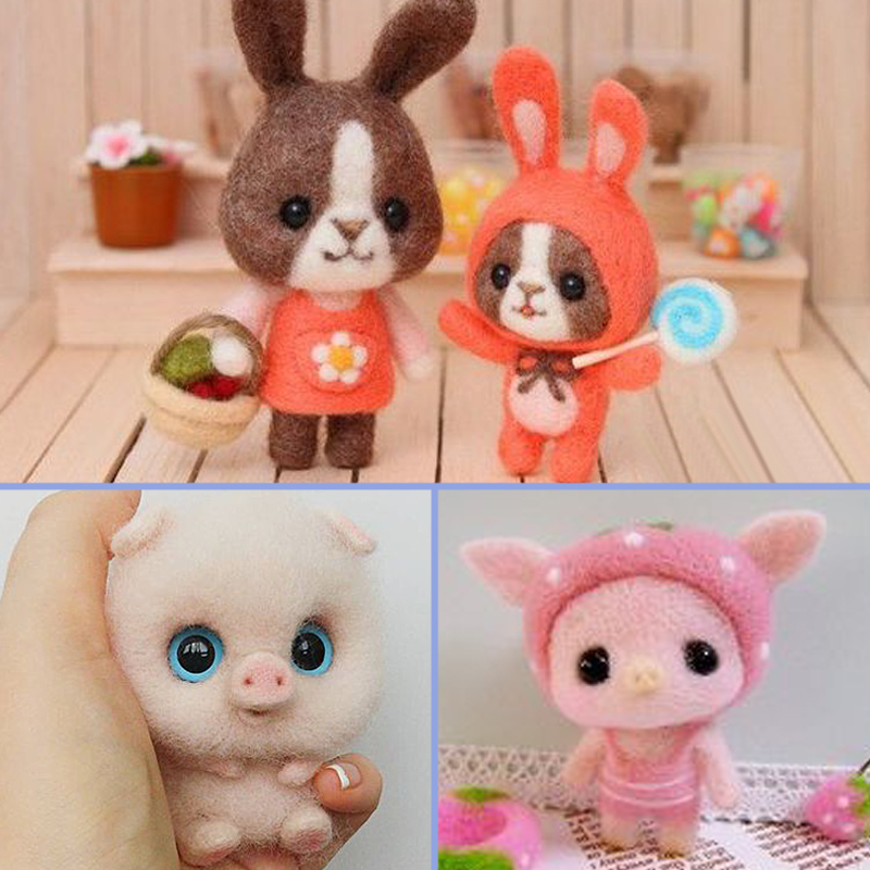 2019 Fashion Women DIY Cute Animal Rabbit Pig Toy Doll Wool Felt Poked Kitting Non-Finished Handcarft Wool Felting Material