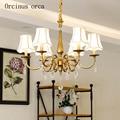 Style américain rural cuivre cristal lustre salon chambre jardin européen personnalité créative doré cristal lampe|Lampes à suspension|   -