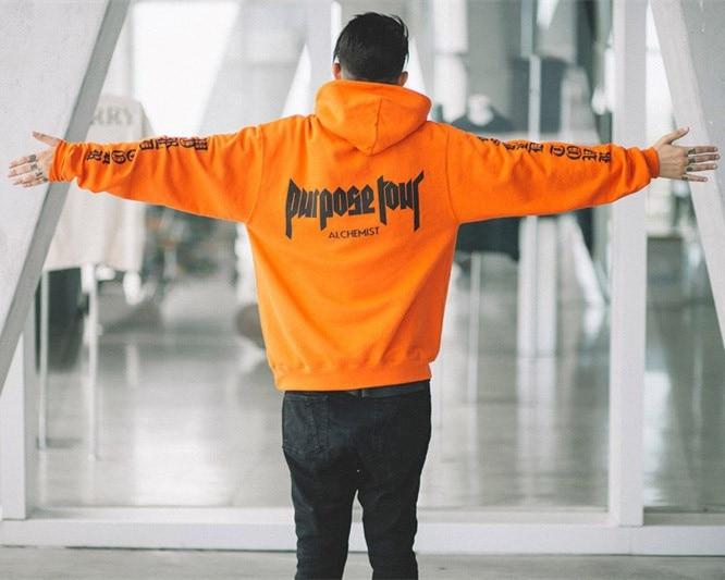 Men's Clothing Staff 2018 New Cotton Orange Letter Kanye West Purpose Hip Hop Skateboard Hoodies Men Full High Street Sweatshirts London