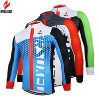 ARSUXEO Men Cycling Jersey Bike Bicycle Long Sleeves Cycle Wear Clothing Outdoor Sports Breathable Mountain Bike
