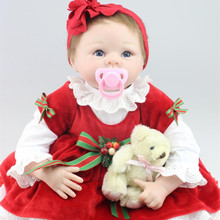 Cute 22Inch/55cm Alive Silicone Reborn Baby Dolls With Red Clothes 1 Set Lifelike Newborn Baby Dolls For Children Free Shipping