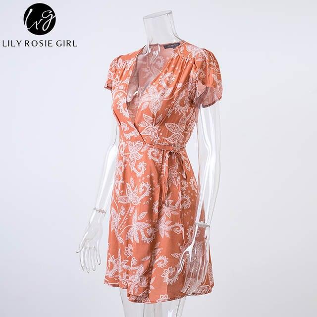 3903c3e3e680d US $21.98 |Lily Rosie Girl Orange Boho Floral Print Warp Mini Dress Women  Deep V Neck Sexy Party 2019 Summer Beach Short Dresses Vestidos-in Dresses  ...
