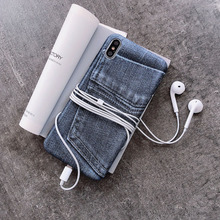 Original creative personality realistic jeans phone case for iPhone X XS XR XSMax 8 7 6 6S PluS soft shell drop protection cover