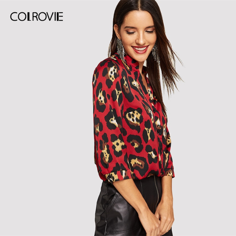 6e2fe6dd200b COLROVIE Stand Collar Leopard Print Button Up Blouse Women 2019 Spring  Korean Elegant Tops Office Ladies Fashion Vintage Shirts-in Blouses & Shirts  from ...
