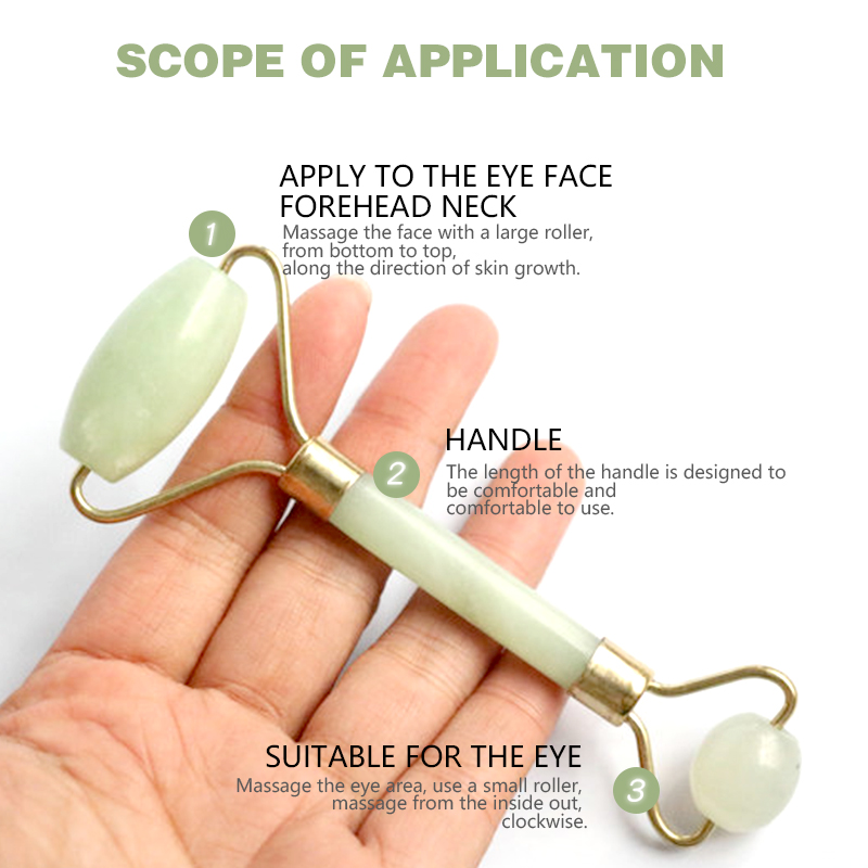 Natural Double Head Facial Massage Roller jade Beauty Tool  2