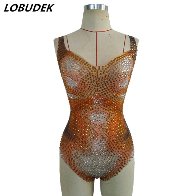 84bc3829f81 Orange Crystals sexy female bodysuit Stage DJ DS costumes Nightclub Bar  singer dancer performance Catsuit Party show stage wears