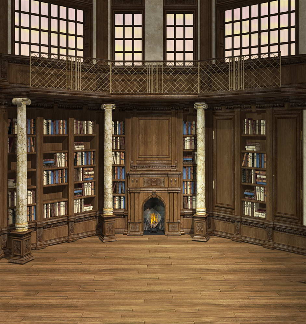 Antique Library Old Bookshelf Backdrop for Photography Printed White Pillars Windows Interior Photo Shoot Background Wood Floor
