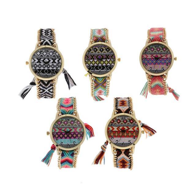 6feb60e6dcf Novas Mulheres Marca de Moda Artesanal Trançado de Lã Tricô Cinta Boho  Corda Relógio de Quartzo