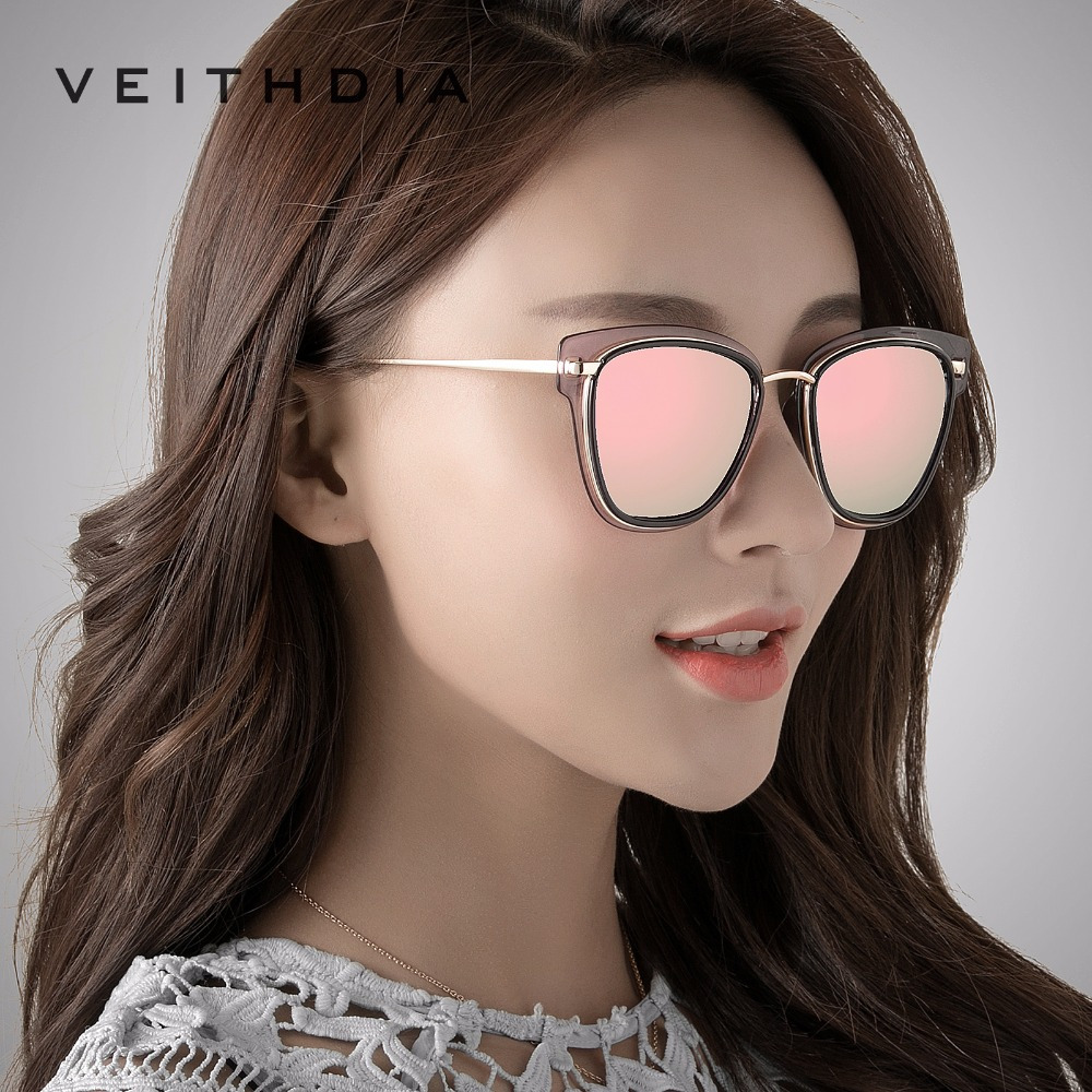 VEITHDIA Luxury Ladies Sun glasses Polarized Cat Eye Ladies Designer Women Sunglasses Eyewear Accessories Female gafas VT3038