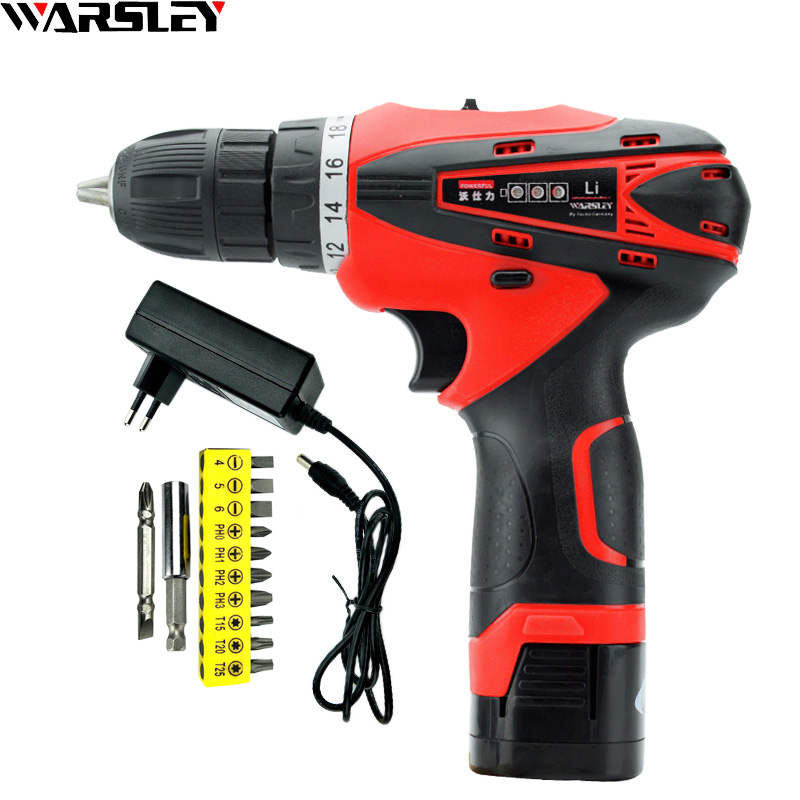 цена на 16.8V Cordless Electric Drill Multifunction Waterproof Battery Screwdriver Home Mini Rechargeable Double Speed Power Drill