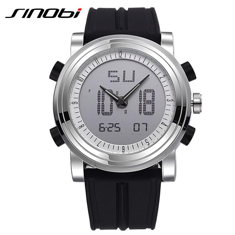 Prix pour SINOBI Sport Montres Hommes Bracelet En Silicone Led Numérique Montre-Bracelet Étanche 3ATM De Luxe Quartz Hommes Montre Relogio Masculino