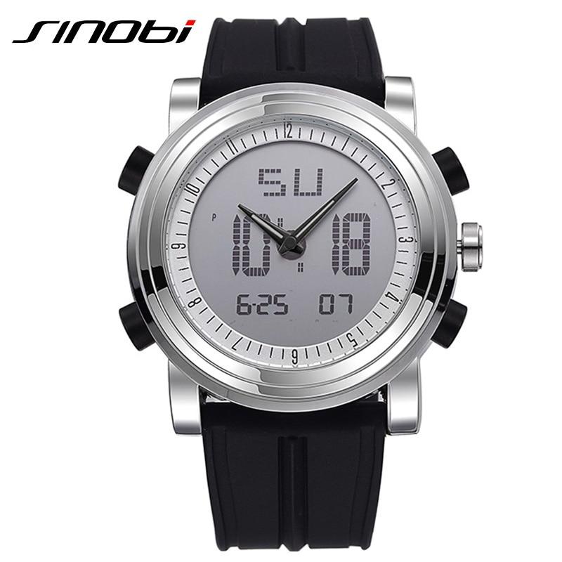 SINOBI Sport Watches Men Silicone Strap Led Digital Wristwatch 3ATM Waterproof Luxury Quartz Men Watch Relogio