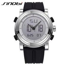 SINOBI Sport Montres Hommes Bracelet En Silicone Led Numérique Montre-Bracelet Étanche 3ATM De Luxe Quartz Hommes Montre Relogio Masculino