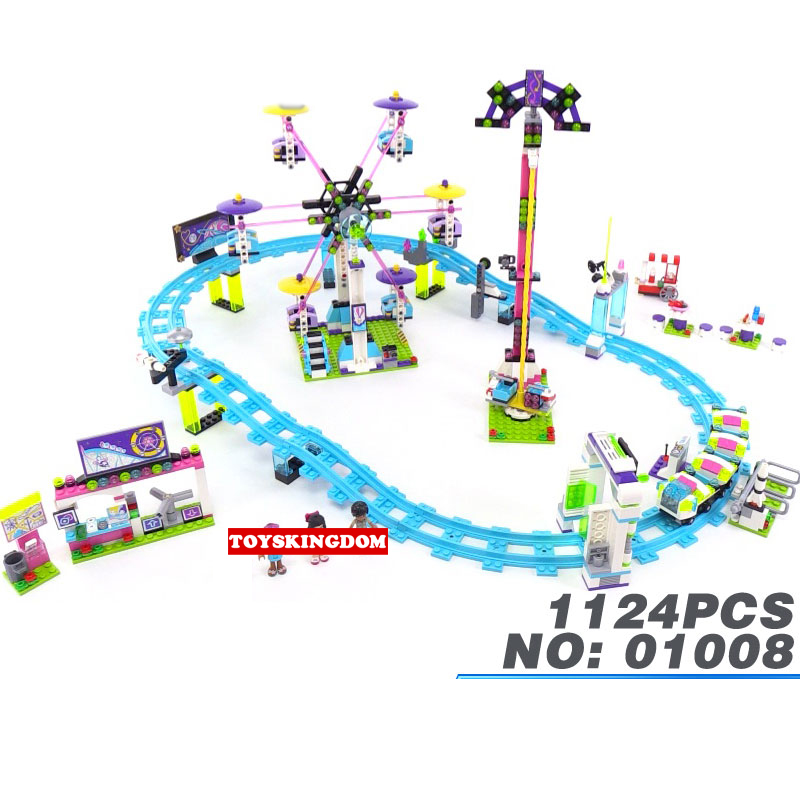 Hot City My Good Friends Girls Clubs Amusement Park Roller Coaster Building Block Naya Emma Lepins Figures Bricks Toys hot city series aviation private aircraft lepins building block crew passenger figures airplane cars bricks toys for kids gifts