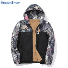 Encontrar Winter Fleece Hooded Coat Men Plus Size 4XL Men's Velvet Coat with Hood Letter Printed Warm Flower Parkas Man ,QA419