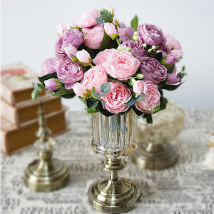 1 Bunch Artificial Silk Rose Peony Flowers Wedding Decoration Fall Flores 5 Heads Bouquet DIY Home Fake Flower Wreath A49A29