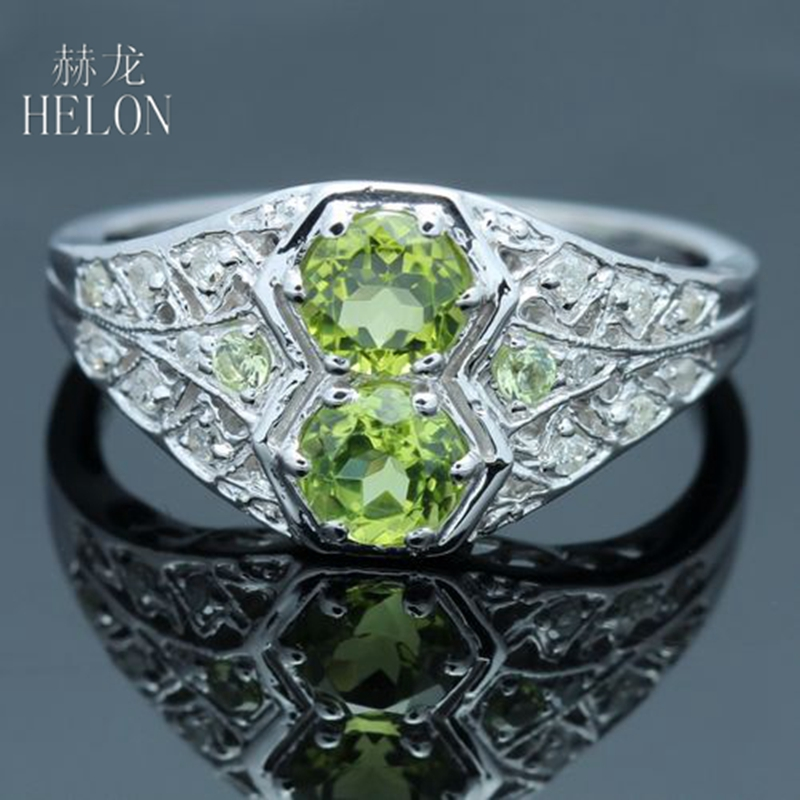 HELON Sterling Silver 925 Genuine Olive-Green Peridot & Pave AAA Graded Cubic Zirconia (CZ) Engagement Wedding Fine Jewelry Ring цена