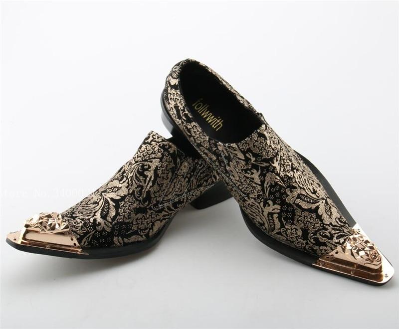 2019 Imprimir Ouro Sobre Decoração Sexy Vendas Homens Sapatos Hot Casual Flats Deslizar Pic Metal Follwwith Dedo As Partido Apontado Moda Do rwqrxSvnBz
