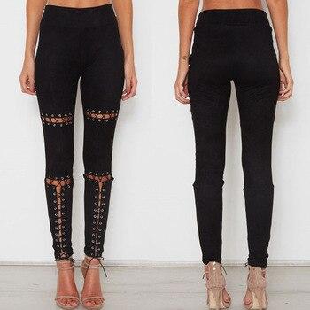 2019 New Women Slim Legging Pencil Pants High Waist Skinny Bandage Lace Up Trousers Брюки