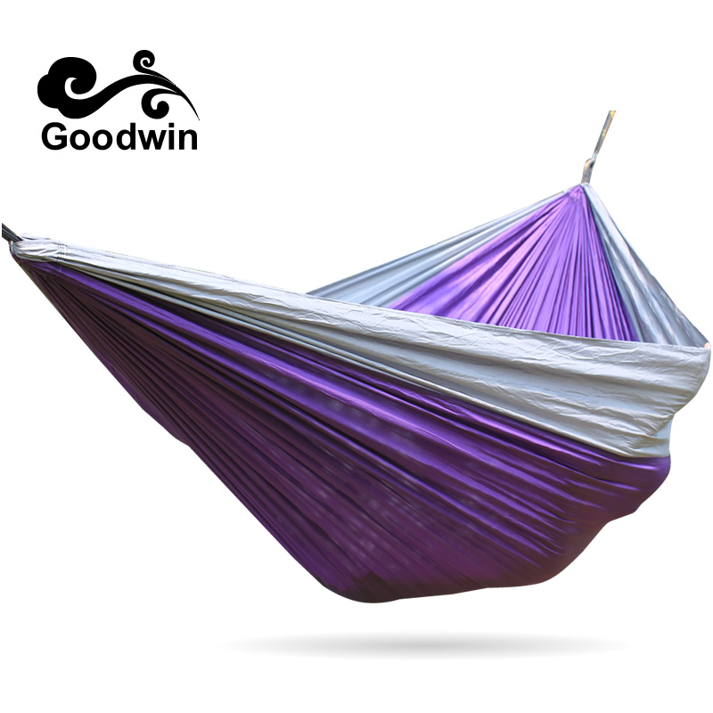Portable Outdoor Traveling Camping Parachute Nylon Fabric Hammock For Two Person 5 Colors High Quality