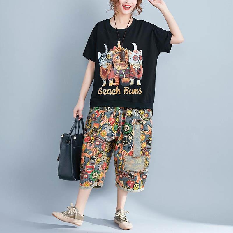 Women's Lady T-shirt Tee Top Cartoon Printing Round Collar Short Sleeve Cotton Fashion FS99
