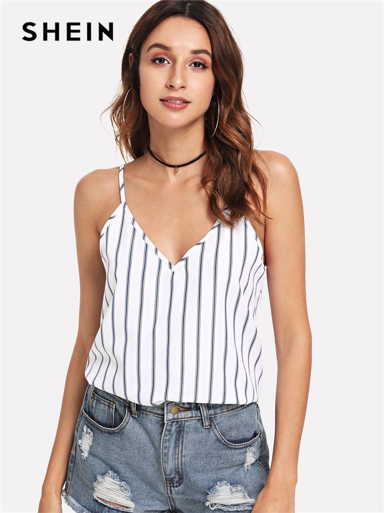 d7af7973a8 SHEIN Multicolor Weekend Casual Backless Double Deep V-Neck Striped Cami  Top Summer Women Going Out ...