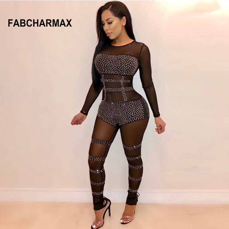 de7eb3ffb57 Detail Feedback Questions about Fashion See Through Rhinestone Pattern Mesh  Jumpsuit Nightclub Long Sleeve Black Sexy Rompers Womens Jumpsuit Patchwork  ...