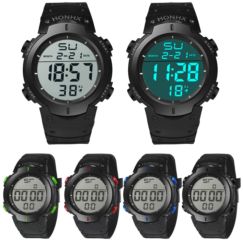 Digital Watch Men Women Relogio Sport Waterproof Men's Boy LCD Digital Stopwatch Date Rubber Sports Wrist Watch 2018