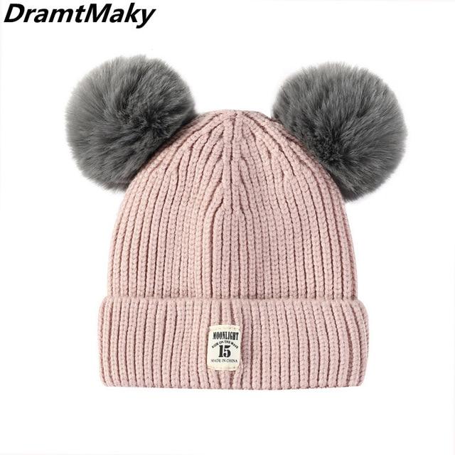 41de222b557 MOONLIGHT label Double ball Cotton Caps Children Geometric Patchwork Knitted  Winter Hats Fur Pompom Boy Girls