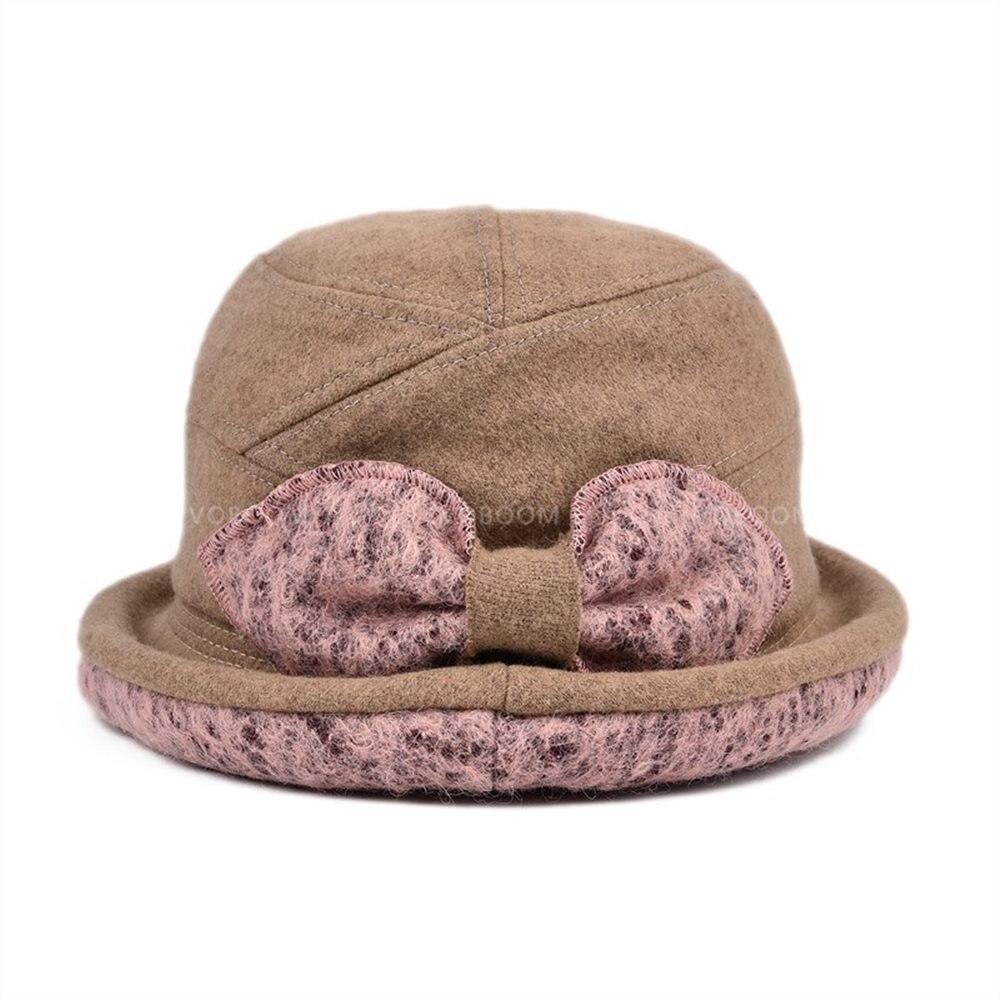 Voboom Vintage Frauen Wollfilz Disketten Fedora Bowler Cloche Hut