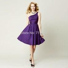 Purple 2017 A-line One-shoulder Knee Length Satin Short Bridesmaid Dresses Cheap Under 50 Wedding Party Dresses