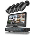 "ANNKE 720P Surveillance System 8CH DVR with built-in 10.1"" LCD monitor and (4) HD 1280tvl 1.0MP CCTV Bullet Cameras"