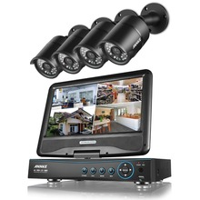 ANNKE 720P Surveillance System 8CH DVR with built-in 10.1″ LCD monitor and (4) HD 1280tvl 1.0MP CCTV Bullet Cameras