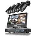 """Annke 720 p 8ch sistema de vigilância dvr com 10.1 """"monitor LCD e (4) HD 1280tvl câmera 1.0MP CCTV Câmeras de Bala"""