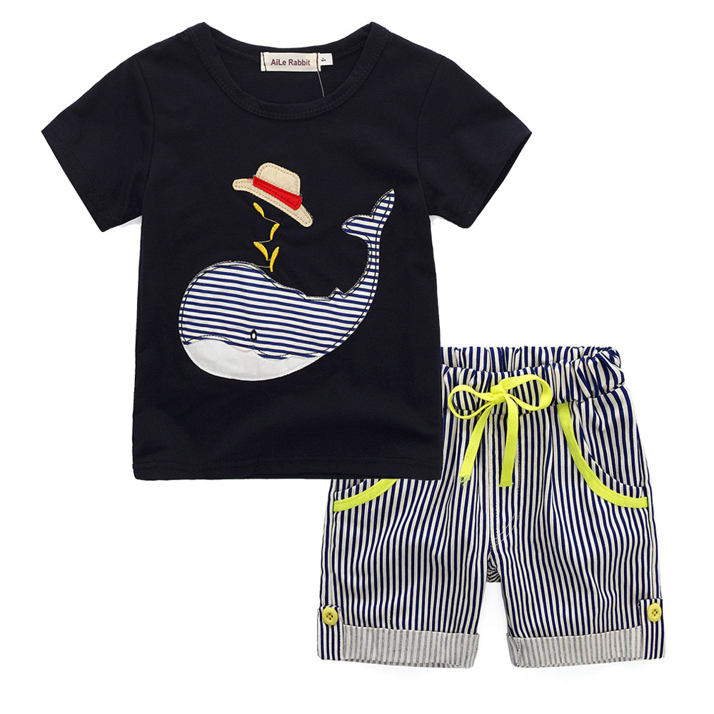 Toddler Kids Baby Boy Cartoon T-shirt Top+Striped Short Pants Outfit Clothes Set sports suit for girl children clothing