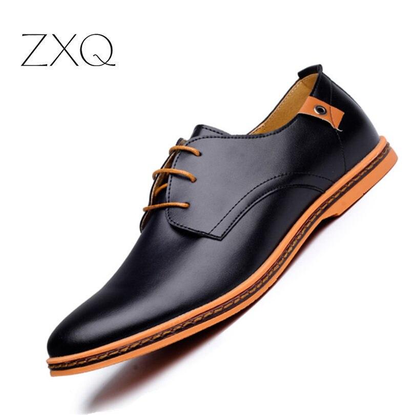 2018 casuales de zapatos de cuero hombres zapatos de moda de los hombres del dedo del pie redondo de la Oficina cómoda Zapatos de vestir de los hombres Plus tamaño 38-48